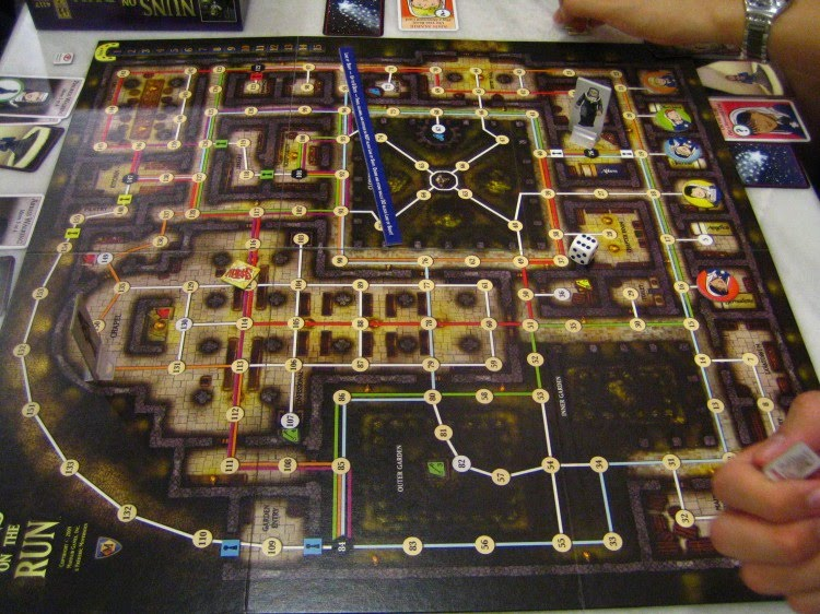 The board for Nuns on the Run by Mayfair Games is not symmetrical at all and can make line of sight difficult.