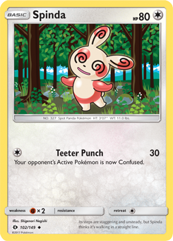 Spinda from the Roaring Skies expansion is a great card that is easy to get ahold of and probably overlooked